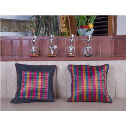 Set of Two Silk Brocade Cushion Covers