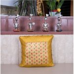 Yellow and Gold Brocade Cushion Cover