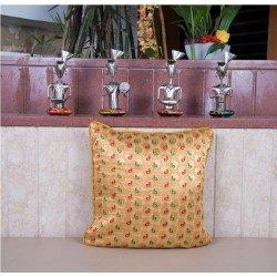 Yellow Silk Brocade Cushion Cover