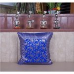 Blue and Gold Brocade Cushion Cover