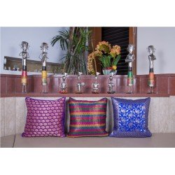 Purple Blue and Multi Brocade Cushion Cover Set