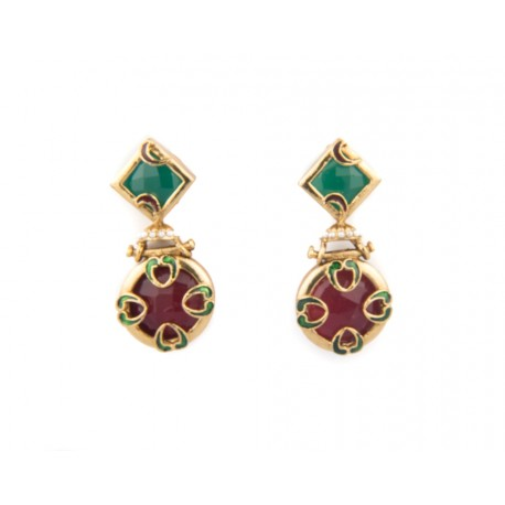 Red and Green Stone Pierce Earring