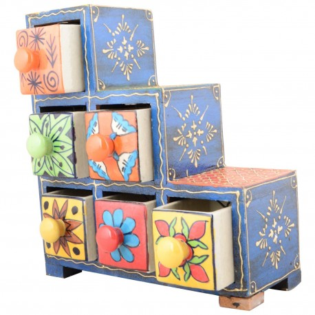 Painted Six Drawer Wood and Ceramic Cabinet