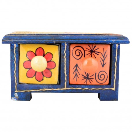 Painted Two Drawer Ceramic and Wood Cabinet