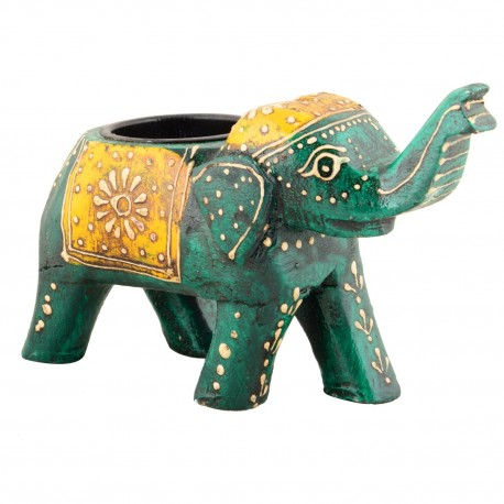 Wooden Painted Elephant Votive T-light Holder