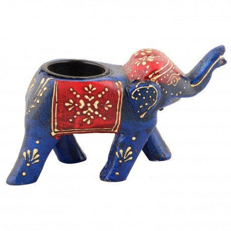 Wooden Painted Elephant Votive T-light Holder