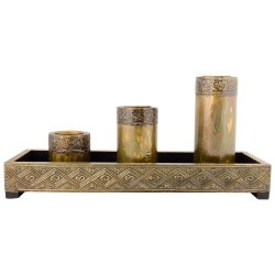 Wooden Three Piece T Light Candle Holder With Tray