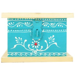 Wooden Peacock Feather Painted Jewellery Box