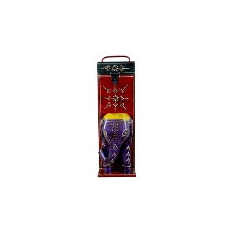 Wooden Elephant Head Painted Wine Bottle Holder