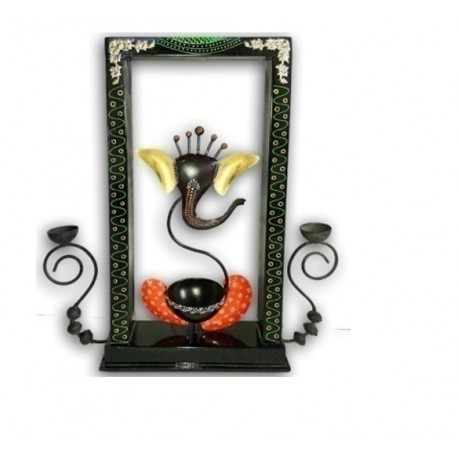 Wrought Iron Ganesha WIth T Light and Frame