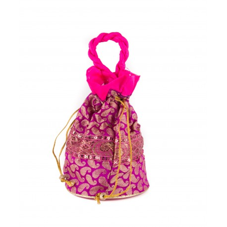 Pink Broacde Silk Potli Bag