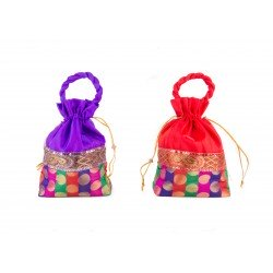 Purple and Red Potli Gift Bags