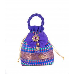 Blue Brocade Potli Bag WIth Kundan