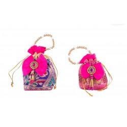 Ethnic Pink and Blue Potli Bag