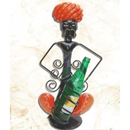 Ethnic Man Wrought Iron Wine Bottle Holder