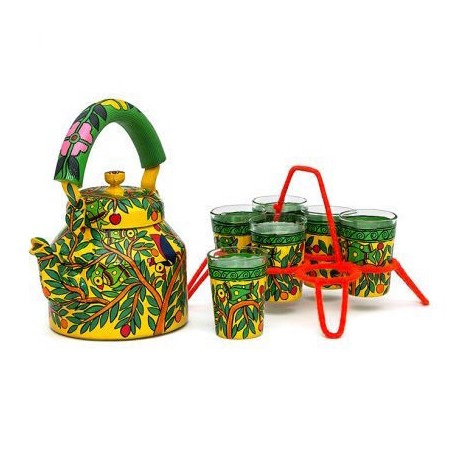 Kaushalam Tea Kettle with six glasses and stand: Parrots on tree