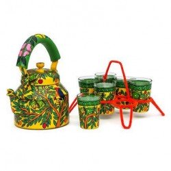 Kaushalam Tea Kettle with six glasses and stand: King & Queen
