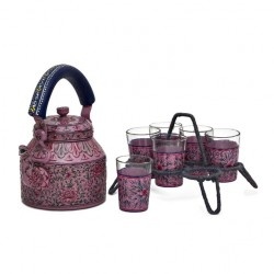 Kaushalam Tea Kettle with six glasses and stand: Pink Passion