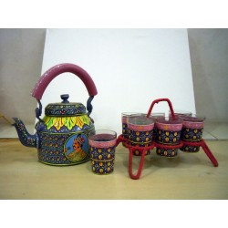 Kaushalam Tea Kettle with six glasses and stand: King & Queen II