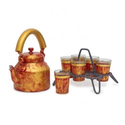 Kaushalam Tea Kettle with six glasses and stand: Antiqua Fiery Red