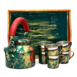 KAUSHALAM 8 PC TEA SET: GREEN GLAMOUR