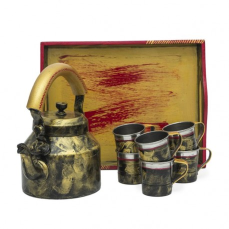 KAUSHALAM TEA SET : ANTIQUA BLACK
