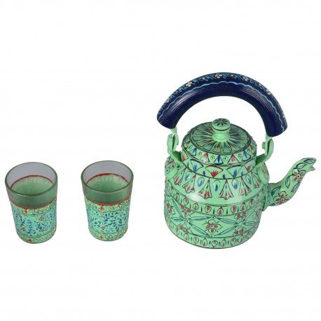 KAUSHALAM TEA KETTLE WITH TWO GLASSES