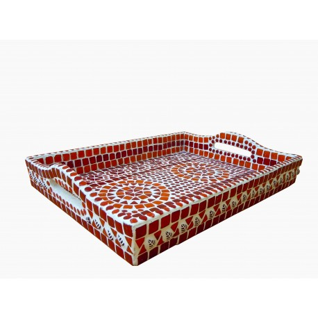 KAUSHALAM MOSAIC LARGE TRAY: RED