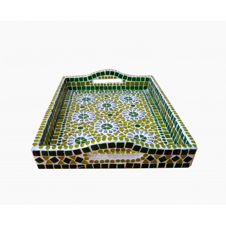 KAUSHALAM MOSAIC LARGE TRAY: GREEN