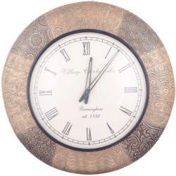 Wooden Colonial Wall Clock Brass Embossed 18 inch