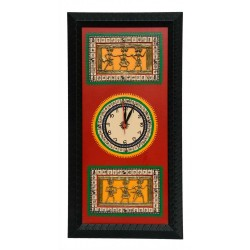 Traditional Bastar Art Wooden Wall Clock