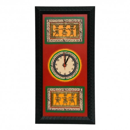 Traditional Bastar Art Wooden Clock