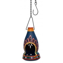 Hand Painted Terracotta Bottle Shape T Light Holder