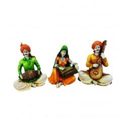 Rajasthani 3 Piece Musician Troupe Fiber Figurine