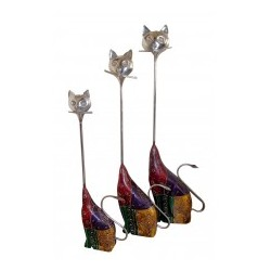 Ethnic Wooden Painted Cat Set of Three