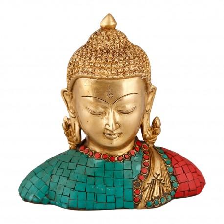 Brass and Turquoise Stone Buddha Figurine