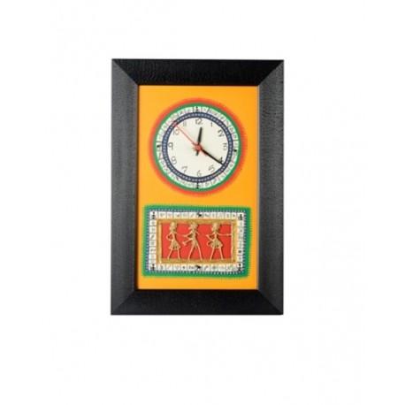 Traditional Bastar & Dhokra Art Wooden Wall Clock