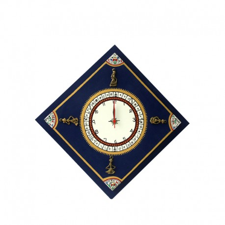 Warli Handpainted Blue Wall Clock