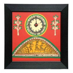 Wooden Painted Warli Dokra Wall Clock