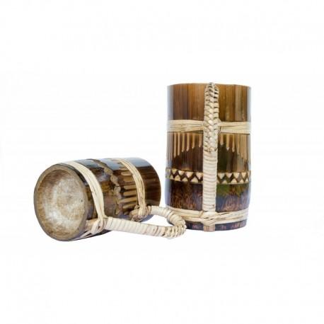 Vintage Look Bamboo Beer Mug