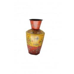 "Wrought Iron Embossed Painting Flower Vase Pot 6"""