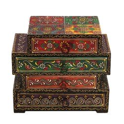 Four drawer embossed wooden box