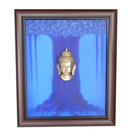Buddha Under Mahabodhi Tree Canvas Painting Antique Brass Buddha