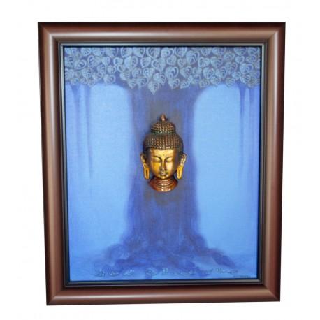 Brass Buddha on Tree Canvas Painting Blue