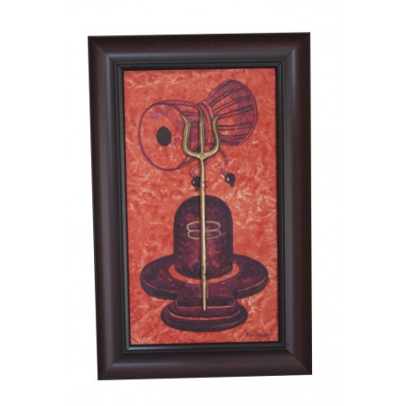 Shivling Painting on Canvas With Damru and Brass Swastik