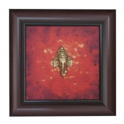 Brass Ganesha Head on Canvas Painting