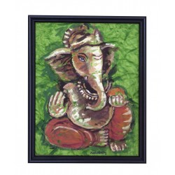 Dry Brush Musical Ganesha Painting on Crush Paper
