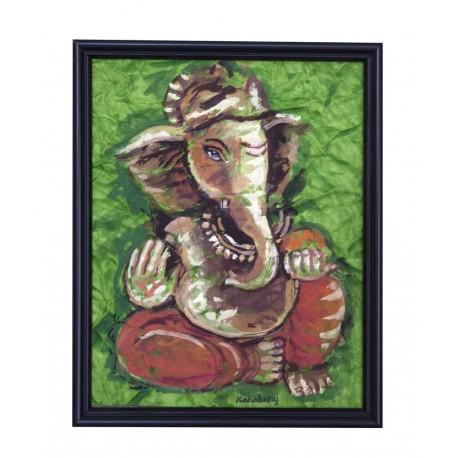 Dry Brush Musical Ganesha Painting on Crush Paper