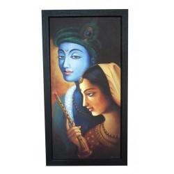 Radha Krishna Flute Canvas Painting