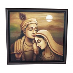 Radha Krishna Sunset Backdrop Canvas Painting